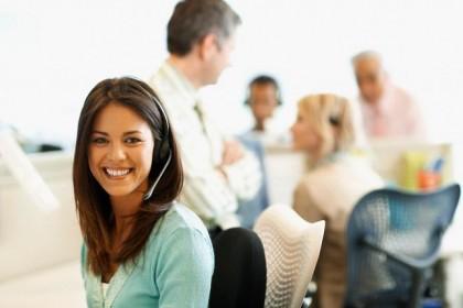Woman Wearing Headset in Office