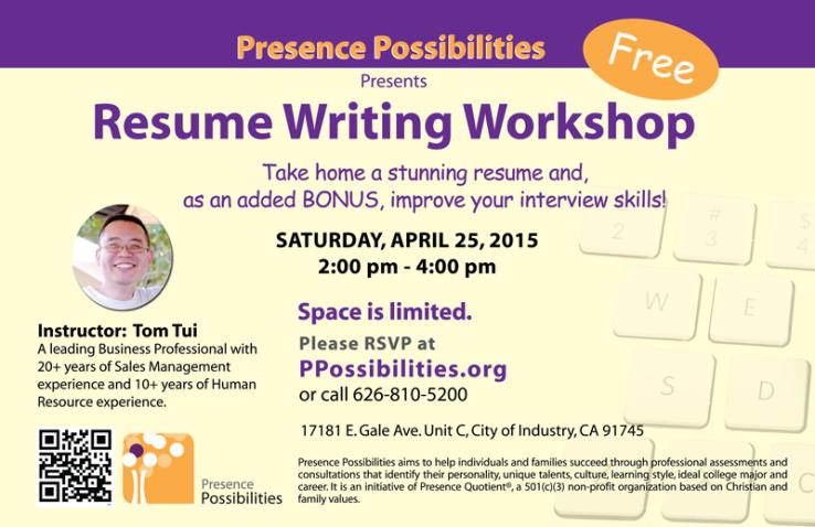 4  25  15 free resume writing workshop